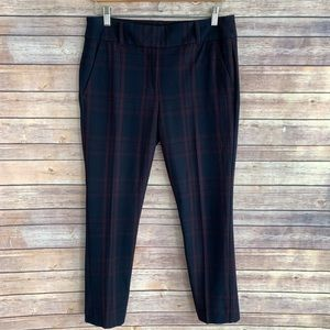 LOFT Plaid High Rise Modern Skinny Ankle Pants